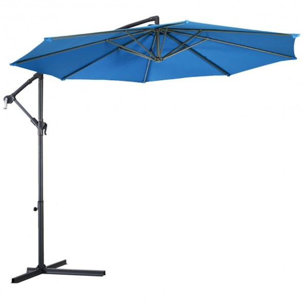 10' Patio Outdoor Sunshade Hanging Umbrella-Blue