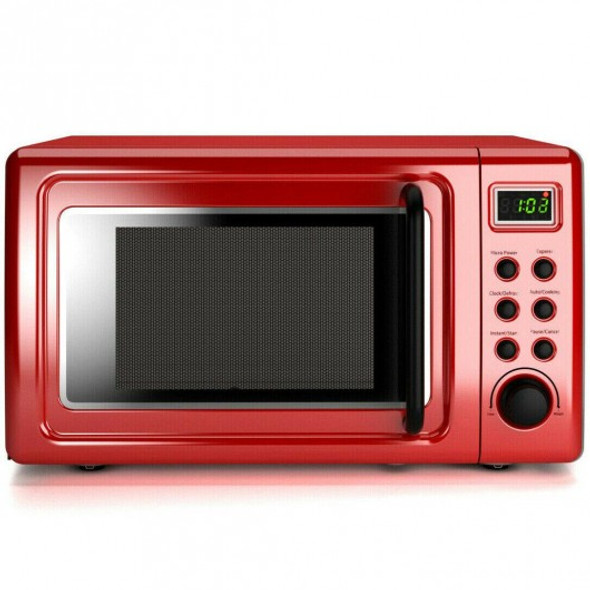 700W Glass Turntable Retro Countertop Microwave Oven-Red