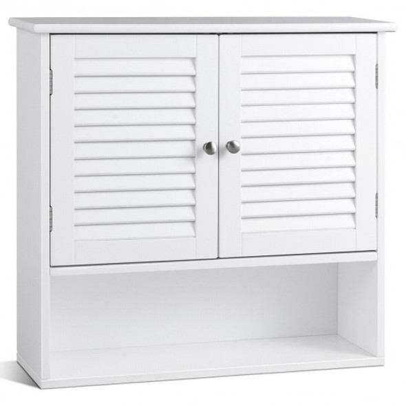 Double Doors Shelves Bathroom Wall Storage Cabinet