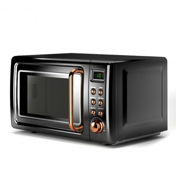 700W Glass Turntable Retro Countertop Microwave Oven-Golden