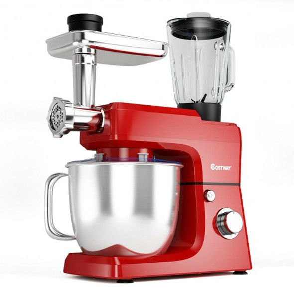 3-in-1 Multi-functional 6-speed Tilt-head Food Stand Mixer-Red