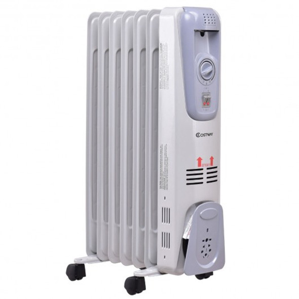 1500 W 7-Fin Electric Oil Filled Space Thermostat Heater