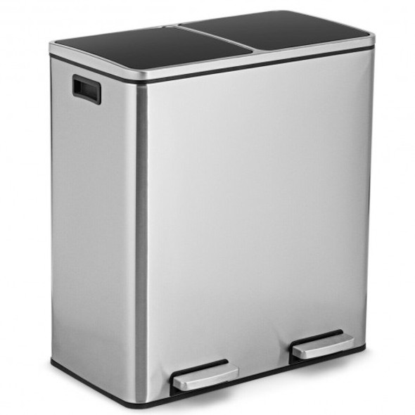 16 Gallon Dual Step Trash Can Recycling Double Bucket Pedal