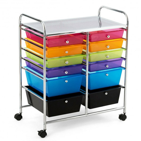 12 Drawers Rolling Cart Storage Scrapbook Paper Organizer Bins-Multicolor