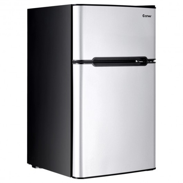 3.2 cu ft. Compact Stainless Steel Refrigerator-Gray
