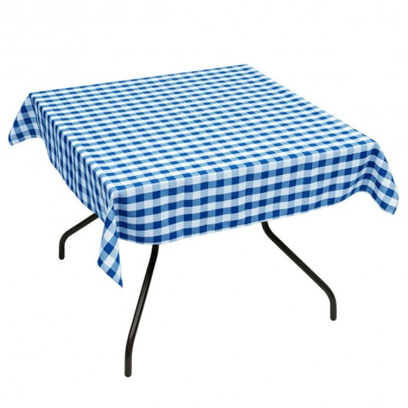 "10 Pcs 52"" x 52"" Square Polyester Plaid Dinner Tablecloth-Blue"