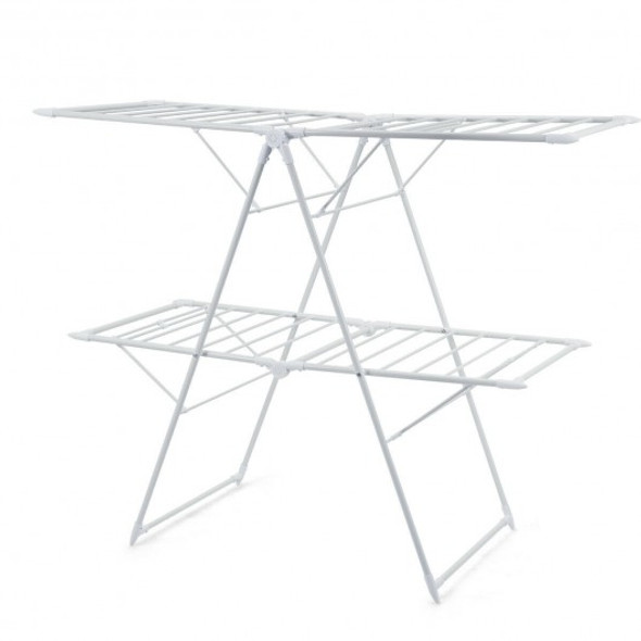 2-Level Foldable Clothes Drying Rack-White