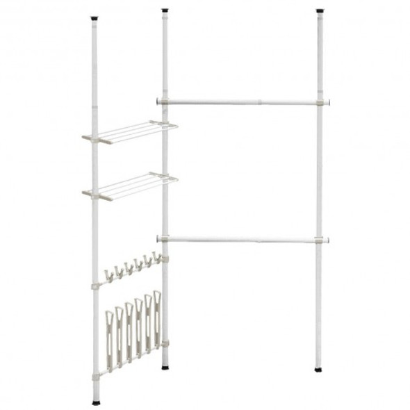 2 Tier Telescopic Clothes Hangers with Shoe Rack & Shelf