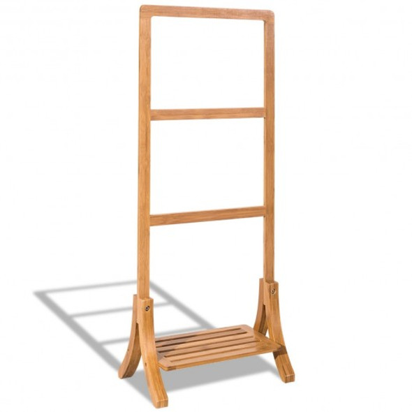 Free Standing Bamboo Towel Rack with Bottom Shelf