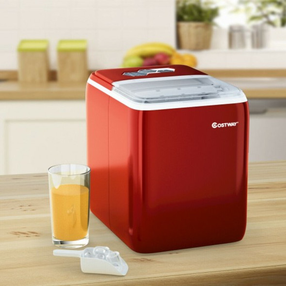 44 lbs Portable Countertop Ice Maker Machine with Scoop-Red