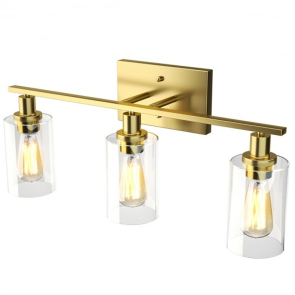 3-Light Modern Bathroom Wall Sconce with Clear Glass Shade-Golden
