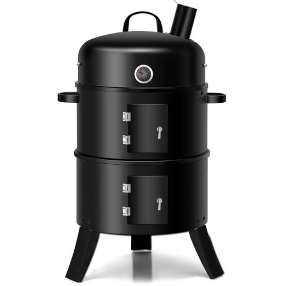 3-in-1 Portable Round Charcoal Smoker BBQ Grill Built-in Thermometer