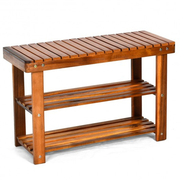 3-Tier Wood Shoe Rack Shoe Bench Freestanding Boots Organizer