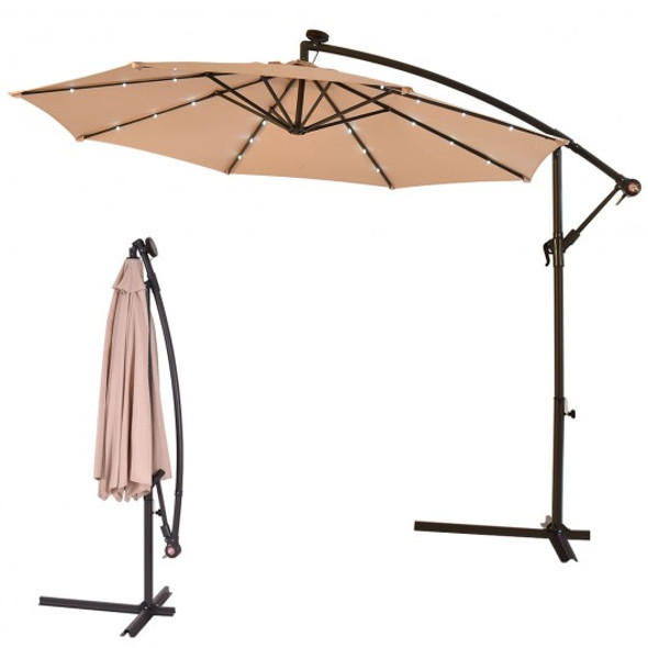 "10""  Patio Hanging Solar LED Umbrella Sun Shade-Beige"
