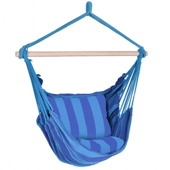 4 Color Deluxe Hammock Rope Chair Porch Yard Tree Hanging Air Swing Outdoor-Blue