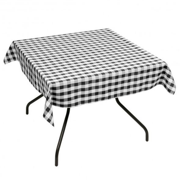 "10 Pcs 52"" x 52"" Square Polyester Plaid Dinner Tablecloth-Black"
