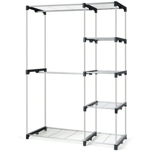 Freestanding Clothes Organizer Rack with Shelves and Hanging Rods