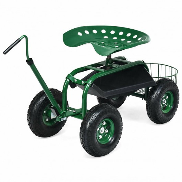 Extendable Handle Garden Cart Rolling Wagon Scooter