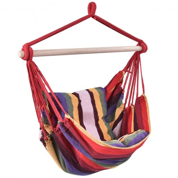 4 Color Deluxe Hammock Rope Chair Porch Yard Tree Hanging Air Swing Outdoor-Red