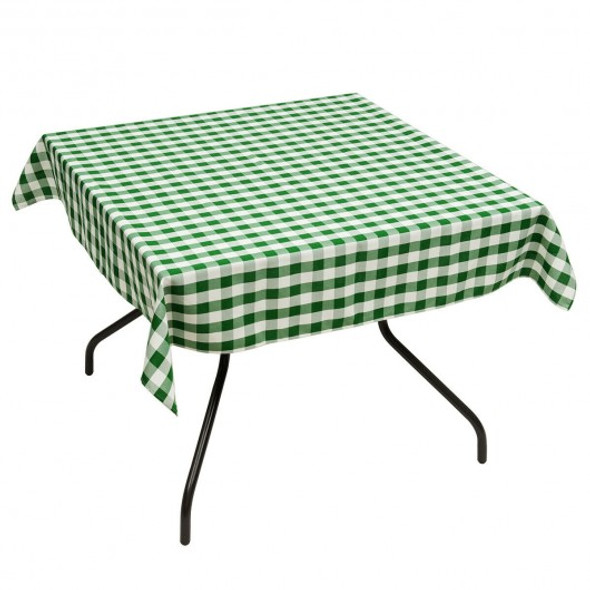 "10 Pcs 52"" x 52"" Square Polyester Plaid Dinner Tablecloth-Green"