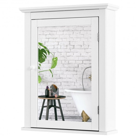 Bathroom Mirror Cabinet Wall Mounted Adjustable Shelf Medicine Storage-White