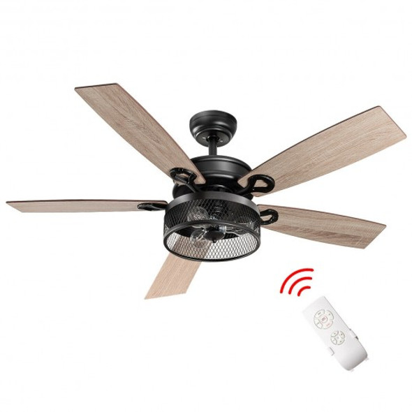 48-Inch Ceiling Fan with 5 Wooden Rustic Reversible Blades