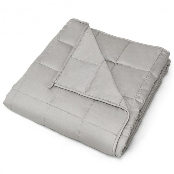 15 lbs 100% Cotton Weighted Blankets-Light Gray