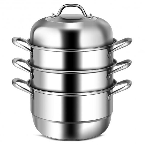 3 Tier Stainless Steel Cookware Pot Saucepot Steamer