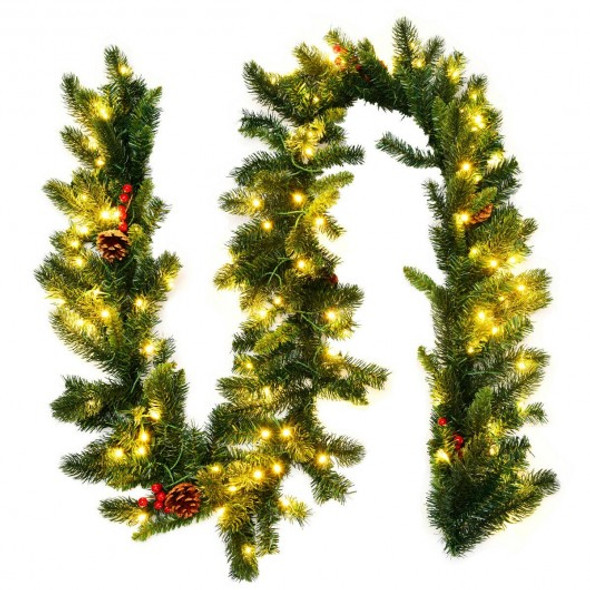 9Ft Pre-lit Artificial Christmas Garland Red Berries with LED