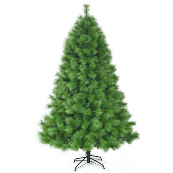 7 ft Hinged Artificial Christmas Tree Holiday Decoration with Stand