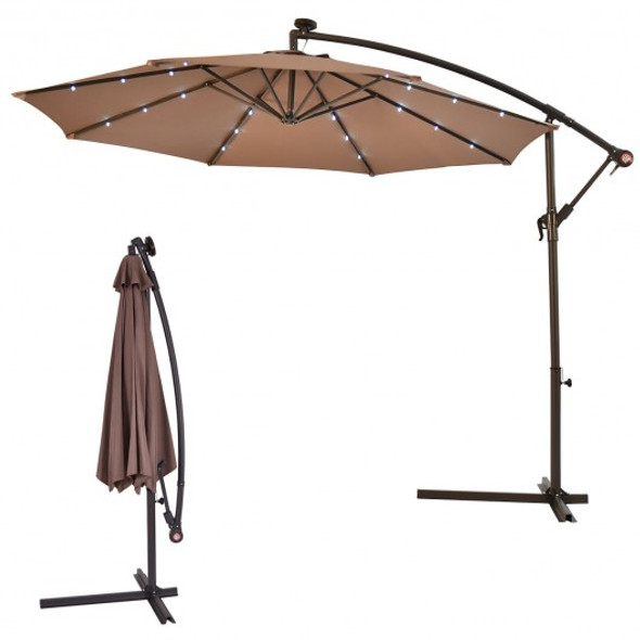 "10""  Patio Hanging Solar LED Umbrella Sun Shade-Tan"