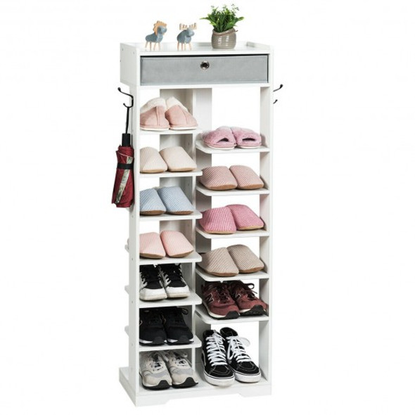 Wooden Free Standing Shoe Storage Shelf with Fabric Drawer-White