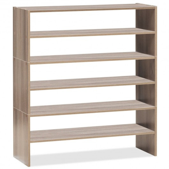 3 Pcs 31-Inch Stackable Shoe Rack-Natural