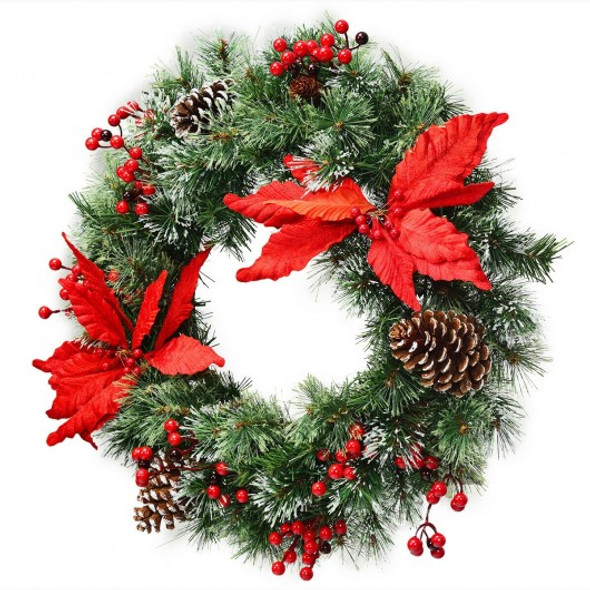 """24"""" Pre-lit Artificial Christmas Wreath Battery Operated"""
