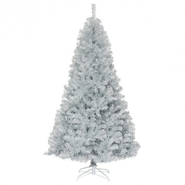 7.5Ft Hinged Unlit Artificial Silver Tinsel Christmas Tree