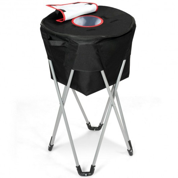 Portable Insulated Tub Party Picnic Cooler with Folding Stand-Black