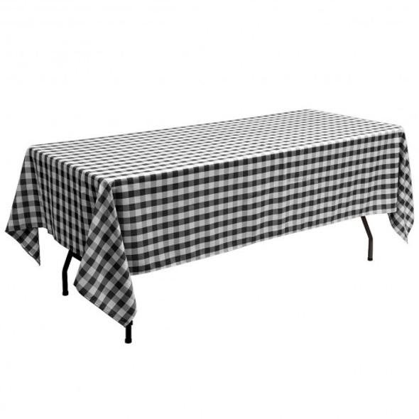 """10 Pcs 60"""" x 126"""" Rectangular Polyester Party Tablecloth-Black"""