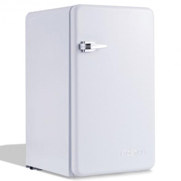 3.2 Cu Ft Retro Compact Refrigerator w/ Freezer Interior Shelves Handle-White