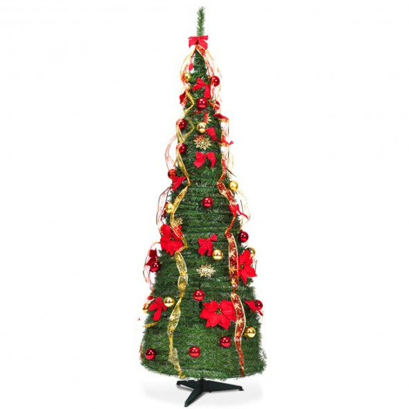 6 Ft Pre-lit Spruce Christmas Tree with Light and Ribbon