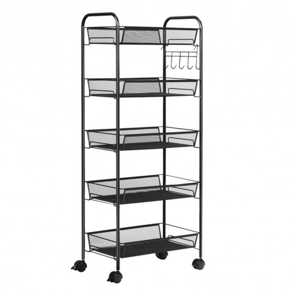 5 Tier Mesh Rolling File Utility Cart Storage Basket-Black