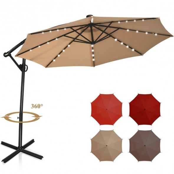 10FT 360 Rotation Solar Powered LED Patio Offset Umbrella-Beige