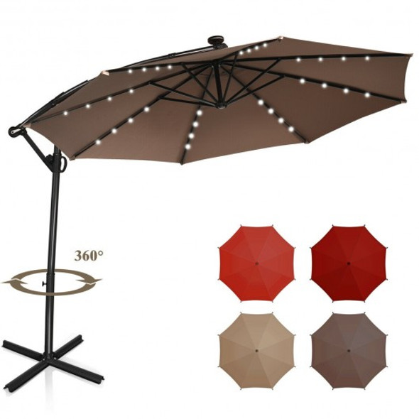 10FT 360 Rotation Solar Powered LED Patio Offset Umbrella-Tan
