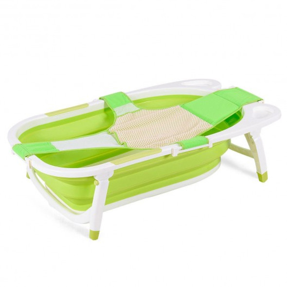 Baby Folding Collapsible Portable Bathtub w/ Block-Green
