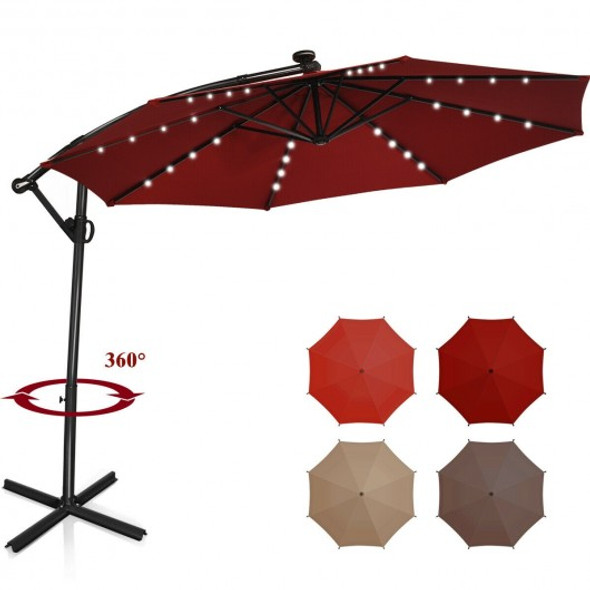 10FT 360 Rotation Solar Powered LED Patio Offset Umbrella-Burgundy