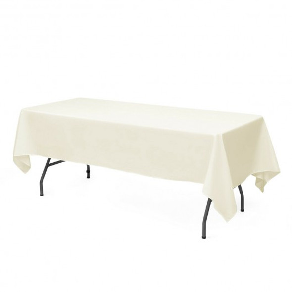"10 pcs 90"" x 132"" Rectangle Polyester Tablecloth-Ivory"