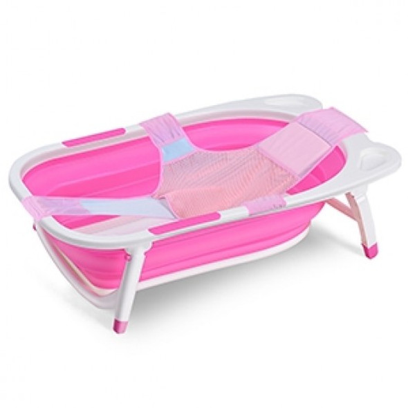 Baby Folding Collapsible Portable Bathtub w/ Block-Pink
