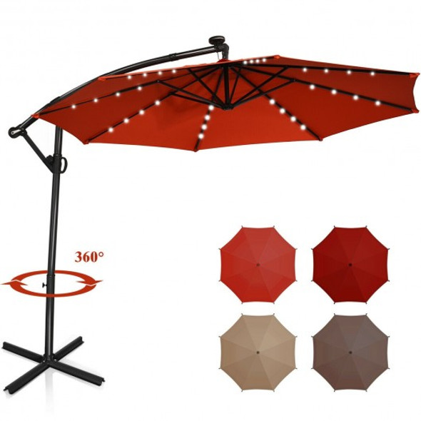 10FT 360 Rotation Solar Powered LED Patio Offset Umbrella-Orange
