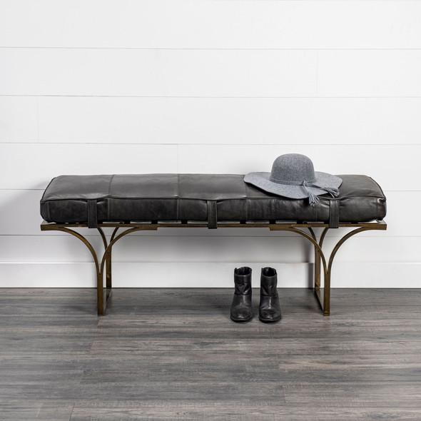 Rectangular Metal/Antiqued-Gold Black Genuine Leather Seat Accent Bench