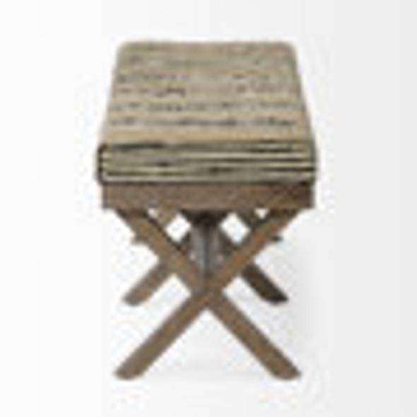Rectangular Indian Mango Wood/ Medium Brown Base W/ Upholstered Beige And Black Stripe Seat Accent Bench