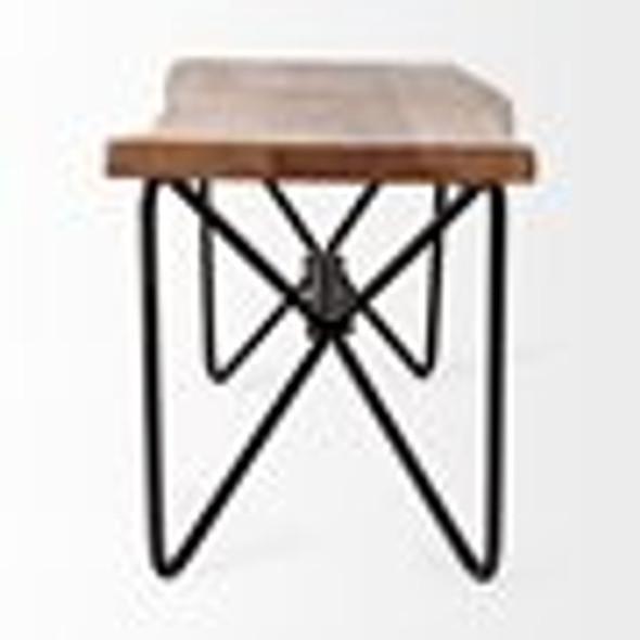 Rectangular Acacia Wood/Brown Finish Iron Base Dining Bench